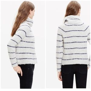 Madewell Round Trip Boucle CowlNeck Stripe Sweater